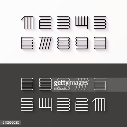 Thin line style numbers