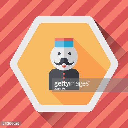 Hotel bellhop flat icon with long shadow,eps10