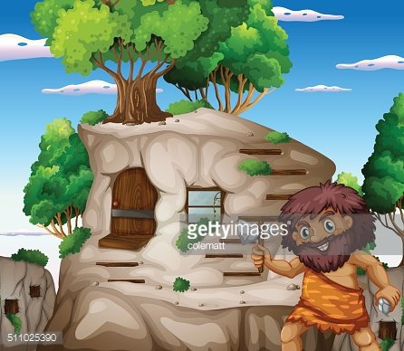 Caveman with axe living in the stonehouse