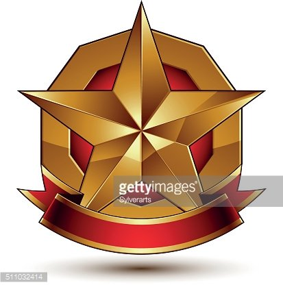 Heraldic golden symbol with stylized pentagonal star and red ribbon