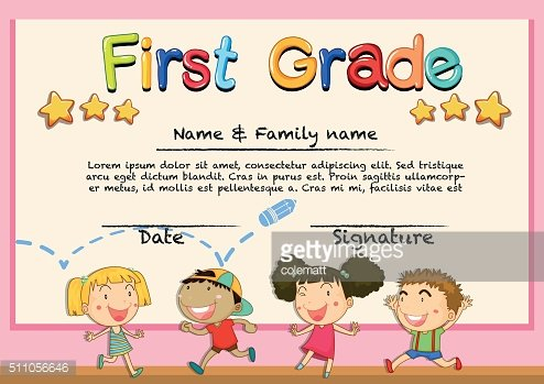 Diploma template for grade one
