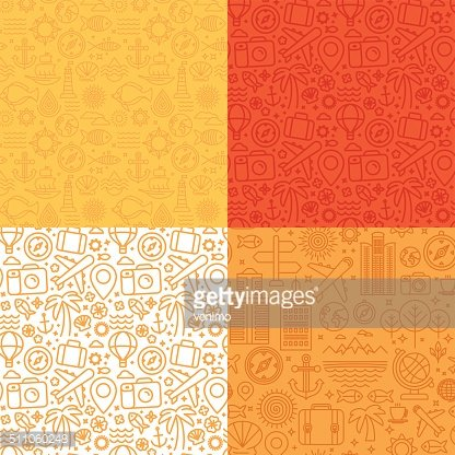 Vector seamless patterns with linear icons and signs related to