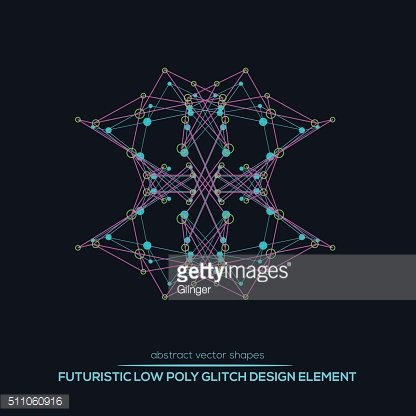 Abstract vector polygonal futuristic shapes. Glitch design.