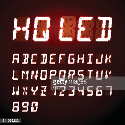 LED digital alphabet on red background
