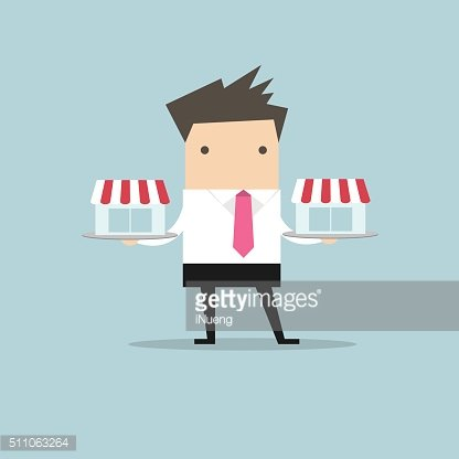 Businessman with franchis shop on tray