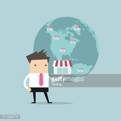 Businessman show his business on global