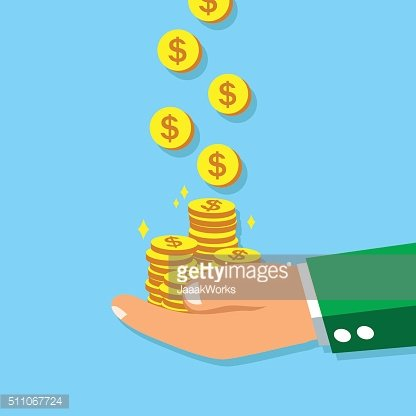 Business big hand earning money coins