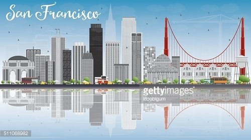 San Francisco Skyline with Gray Buildings, Blue Sky and Reflecti