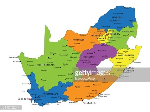 Colorful South Africa political map with clearly labeled, separated layers.