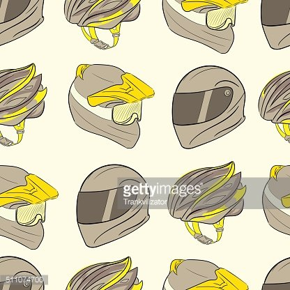 Three seamless motorcycle helmets