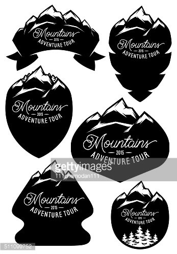 set vector retro badge templates with mountains and forests
