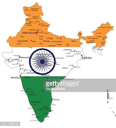India highly detailed political map with national flag.