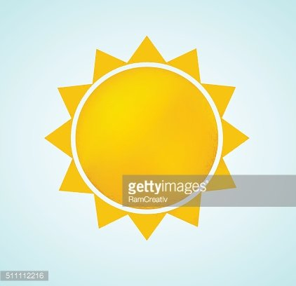 Sun icon with rays. Abstract summer symbol of nature.
