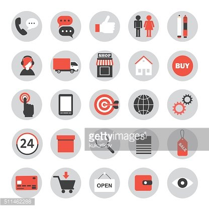 set of flat icons for online shopping