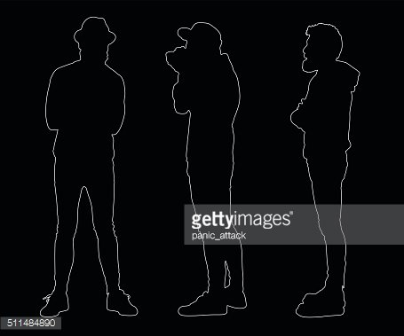 Collection of outline hipster silhouettes.