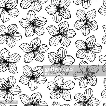 Black and white flower retro style seamless pattern