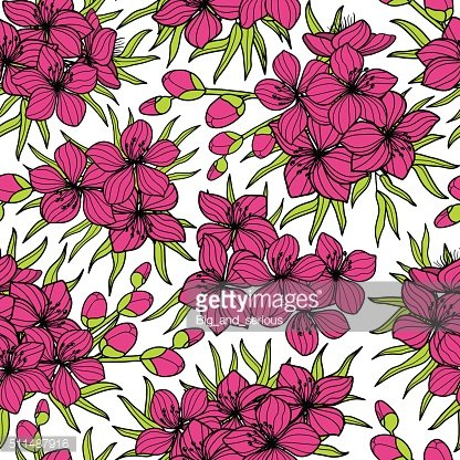 Pink sakura flower seamless pattern. Attractive bright colorful