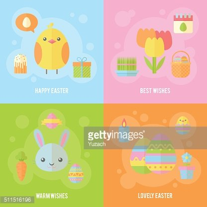 Colorful spring Easter flat banners set