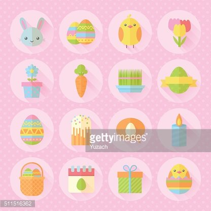 Colorful spring Easter flat icons set