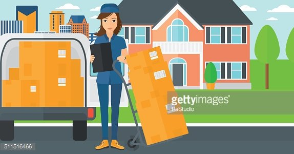 Woman delivering boxes