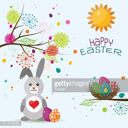 Template Easter greeting card, rabbit, vector