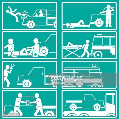Silhouette Shape about pedestrian hit by pick up truck
