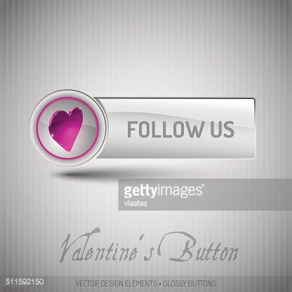 Vector button with pink heart. Modern design elements with valen