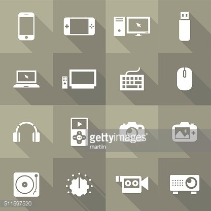 Vector Flat Icon Set - Audio Devices and Objects