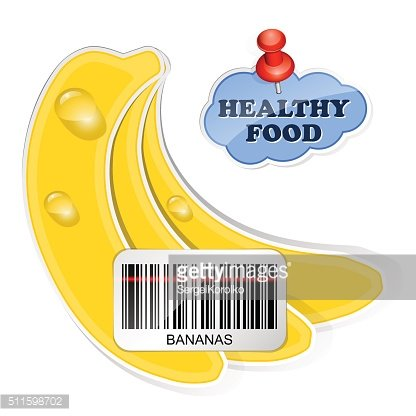Bananas icon with barcode by healthy food