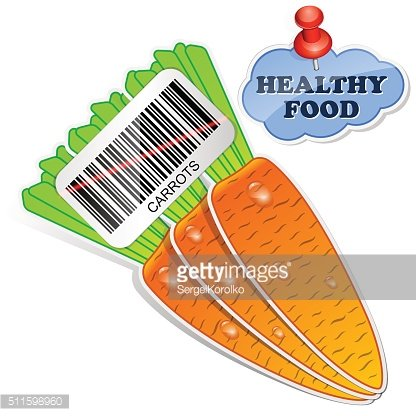 Healthy food icon from paper carrots stickers
