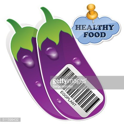 Icon eggplants with barcode by healthy food