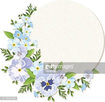 Vector card with blue and purple pansy and forget-me-not flowers. ...