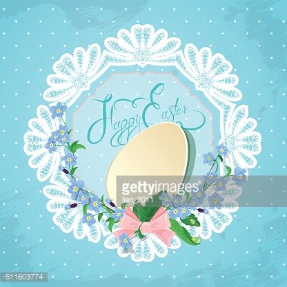 card with egg, ribbon, forget-me-not flowers, Happy Easter