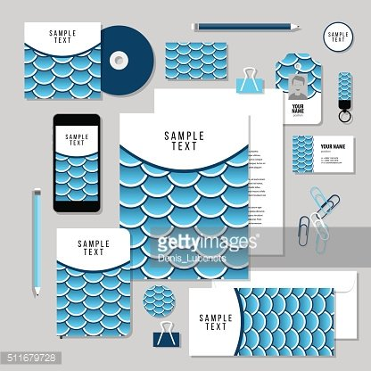 Vector stationery template design with Fish Or Snake Scales.