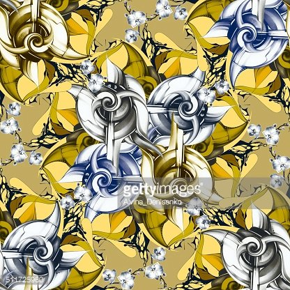 Seamless pattern with abstract snails