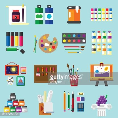 Painting icons flat set of graphic arts
