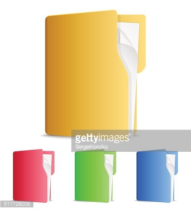 Vector file folders icons on white background