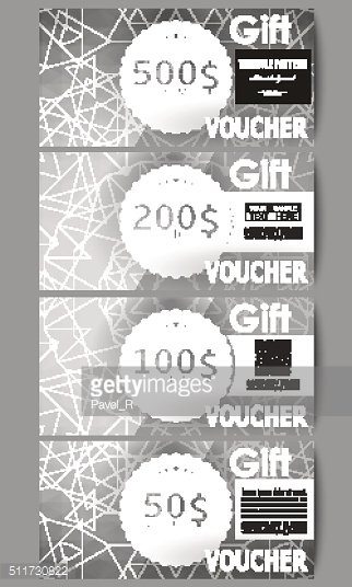 Set of modern gift voucher templates. Sacred geometry, triangle design