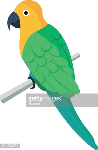Flat vector icon of parrot.