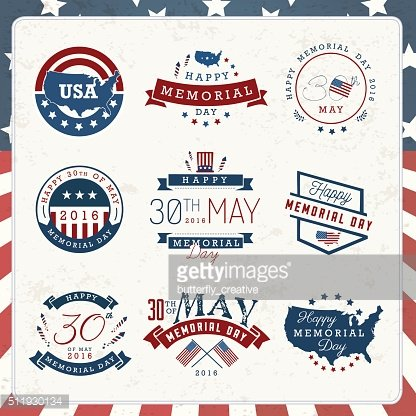 American Memorial Day Badges and Labels in Vintage Style