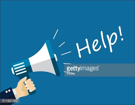 Help text with megaphone