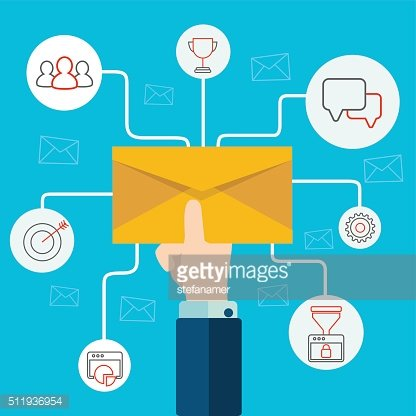 Concept of email advertising. Human hand holding an envelope