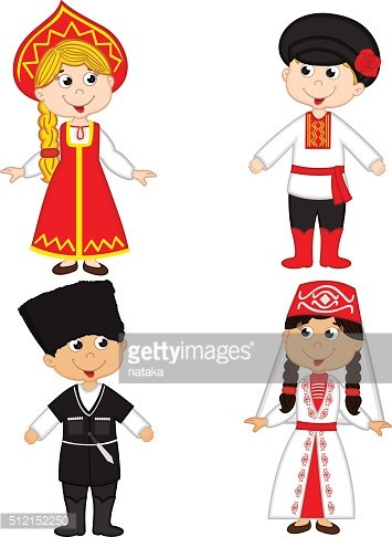 set of isolated children of Russia and Georgia nationalities