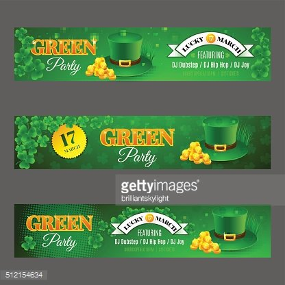 Set with banners for celebration St. Patrick's Day