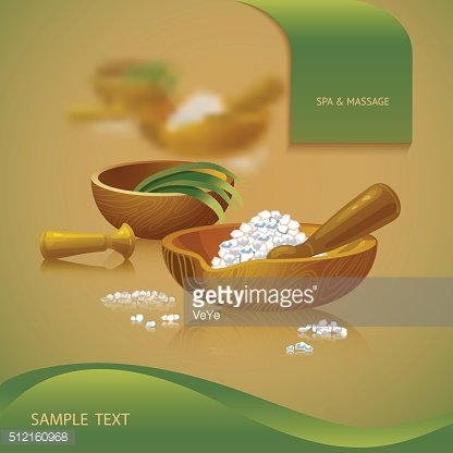 Vector illustration with spa accessories pounders and salt.