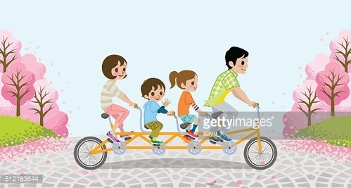 Cycling Family Tandem Bicycle - Cherry trees - EPS10