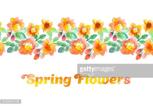 watercolor flowers illustration. hand drawn yellow and orange summer flowers.