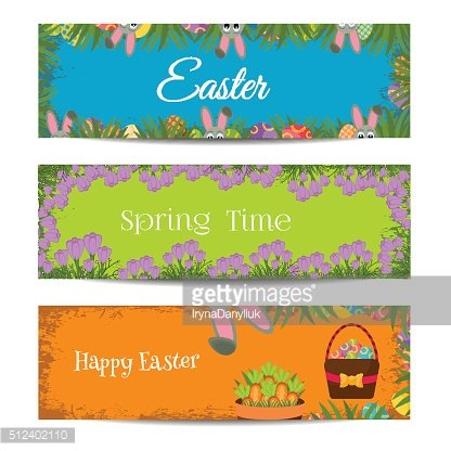 Happy Easter banners set with Colorful Eggs, Yellow Chick ,Crocus