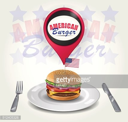 Vector American Burger on Plate