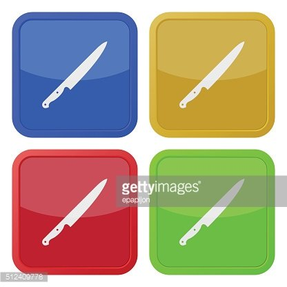 set of four square icons with kitchen knife